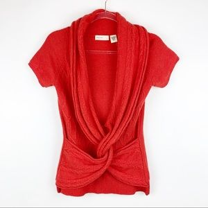 Anthro Sleeping on Snow Twist Front Sweater Small